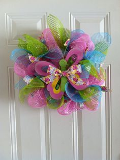 Deco Mesh Spring Wreath with Butterfly on Etsy, $10.00