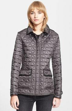 Burberry Brit 'Lunesbury' Leather Trim Quilted Jacket available at #Nordstrom