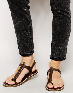 Image 1 of ASOS Sandals With Woven Leather Strap