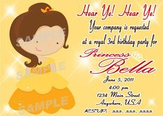 Disney Princess Birthday Party Invitations