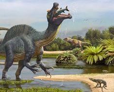 Detail from scene Spinosaurus and Sigilmassasaurus by (Sergey Krasovskiy) on DeviantArt Prehistoric Dinosaurs, Prehistoric World, Dinosaur Fossils, Dinosaur Art, The Good Dinosaur, Prehistoric Creatures, Reptiles, Mammals, Dinosaur Sketch