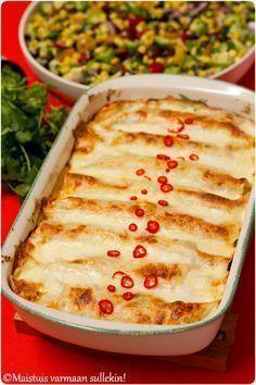 Tortillapakkauksia meiltä löytyy nykyään aina kaapista, koska niistä saa tarvittaessa valmistettua nopeasti jotain hyvää. Pizzapohjiksiki... No Salt Recipes, Pork Recipes, Mexican Food Recipes, Cooking Recipes, Food Hacks, I Foods, Food Inspiration, Love Food, Food Porn