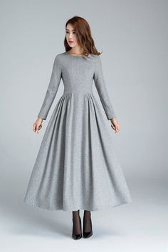 Grey Wool Dress Pleated Dress Long Dress Womens Dresses Winter Dress Fitted Dress Warm Dress Modern Dress Winter Fashion 1617 - pinupi love to share Warm Dresses, Trendy Dresses, Elegant Dresses, Plus Size Dresses, Fashion Dresses, Pleated Dresses, Dresses Dresses, Denim Dresses, Long Dresses