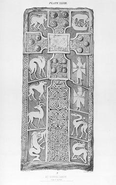 Skilled drawing of the Dunfallandy Pictish carved stone. Celtic Patterns, Celtic Designs, Celtic Symbols, Celtic Art, Scotland History, Viking Runes, Art For Art Sake, Medieval Art, Dark Ages