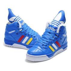 9b6e74fc00c Jeremy Scott Adidas JS Logo Attitude High Shoes Blue Cheap Mens 2012... ❤  liked on Polyvore featuring men s fashion
