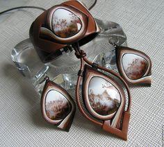 """Купить Комплект из кожи """"Осенний вальс"""" - коричневый, рыжий, комплект украшений…"""