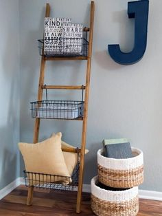 Wooden ladders are super versatile, and lucky for us, they are also readily available. Great for hanging blankets, magazines and even high heels, these ladders are a cute accessory with major functionality.
