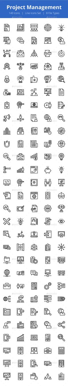 125+ Project Management Line Icons - Icons