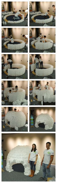 This milk jug reading Igloo was made with 430 milk jugs by @replayrecycled. It took about 4 ppl and five hours to build. It now resides at Down Town Orlando's public Library. This is such a fun craft to make for a class room/library. Kids absolutely love it.