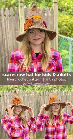 Have fall-tastic fun this Halloween with this cute and easy to make Scarecrow Hat! The pattern contains instructions on how to crochet both Kids and Adult sizes, so you can make one for all the scarecrows you know! The hat is easy to customize with embellishments like patches, leaves, and sunflowers – what a great way to DIY your costume this year! It doesn't get much more fall than a cute, rustic scarecrow - craft your own costume with this fast, easy, fun to make hat! #crochet #halloween #diy Easy Crochet Hat, Crochet Fall, Crochet Beanie, Free Crochet, Crochet Feather, Crochet Headbands, Scarecrow Hat, Scarecrow Crafts, Scarecrows