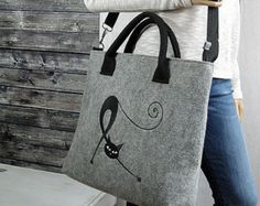BLACK CAT BAG  Women Felt Bag  Felt Tote Bag  by BPStudioDesign
