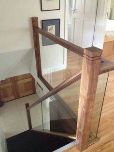 Glass banister with Walnut finish