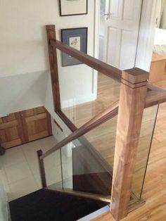 Glass banister with Walnut finish Glass banister with Walnut finish House Staircase, Staircase Railings, Banisters, Staircase Design, Staircases, Balustrade Design, Glass Balustrade, Glass Stairs, Glass Railing