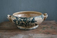 Reserved Antique French Blue Transferware Tea Stained Tureen
