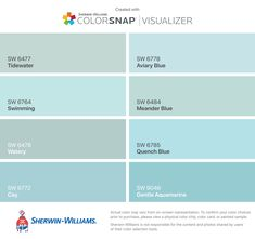 I found these colors with ColorSnap® Visualizer for iPhone by Sherwin-Williams: Tidewater (SW Swimming (SW Watery (SW Cay (SW Aviary Blue (SW Meander Blue (SW Quench Blue (SW Gentle Aquamarine (SW Spa Paint Colors, Turquoise Paint Colors, Coastal Paint Colors, Aqua Paint, Turquoise Painting, Paint Color Schemes, Interior Paint Colors, Paint Colors For Home, House Colors