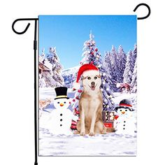PrintYmotion Siberian Husky Dog with Snowman Christmas Holidays Garden Flag, Dog Lovers Gift (12 x 18 Inches) PrintYm... #Siberian Husky #Dog Lovers gift #Christmas Gift #Christmas Flag