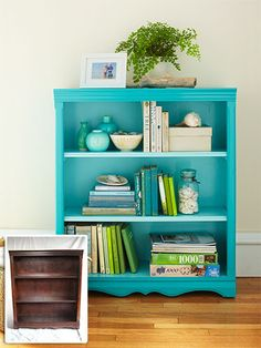 Fun DIY project to revive an old, drab wooden bookshelf - give it a bright color and make it the focal point in your room or hallway!