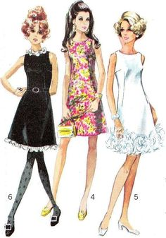 Dress Pattern Simplicity 7976 Mod Womens Day or Evening A Line Dress Trim Variations Vintage Sewing Pattern Bust 36 Moda Vintage, Vintage Vogue, Vintage Sewing, Vintage Dress Patterns, Vintage Dresses, Vintage Outfits, Sewing Patterns, 1960s Dresses, Sixties Fashion