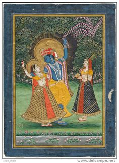 Rajasthan Indian Miniature Painting from the Jaipur School - Radha Krishna - 17x25cm - 163 years old, painted in 1850