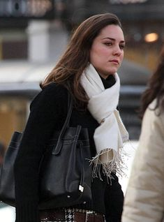 January, 2007 young Kate Middleton casual street style from before her marriage white scarf black purse