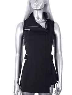 The MILAN Tunic by Blackpants Workwear - sleeveless, side covered zip tunic- bleach resistant, hair repellent, tint resistant hairdressing and beauty uniforms