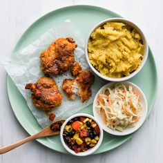 Southern Fried Chicken with Kumara Mash and Coleslaw Crispy Chicken, Fried Chicken, Black Bean Chicken, Coleslaw, Chicken Thighs, Fries, Chicken Recipes, Curry, Salad