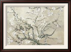 Almond Branches in Bloom, San Remy, c.1890 (tan) Art Print by Vincent van Gogh at Art.com
