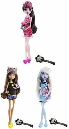 Monster High Dead Tired Dolls Set Of 3 by Mattel. $49.99. 1x Abbey Bominable. 10 inch scale figures. Also includes Monster High scaled brushs,Officially licensed,Brand new. Features multiple points of articulation and real cloth outfits. Set of 3 includes:1x Abbey Bominable ,1x Draculaura ,1x Clawdeen Wolf. Set of 3 includes: 1x Draculaura  1x Clawdeen Wolf 10 inch scale figures Features multiple points of articulation and real cloth outfits Also includes Monster High sca...