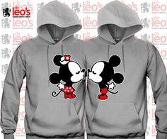 Mickey Minnie Kissing  Cute couples matching Hoodies by DALEOS, $55.00