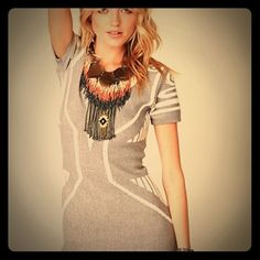 Free People apex raised textured bodycon dress Grey and white knit bodycon dress. Brand new. No tags. 60% cotton 20% viscose 20% nylon. This dress was bought online at Free People but the actual brand is Spring&Clifton. It is an FP boutique item. Free People Dresses