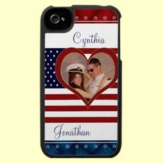 Personalized Military Love Flag Heart Photo iPhone 4 Speck Case by XG Designs NYC. $47.95 Upload your favorite photo and add your names too! #patriotic #military #speck