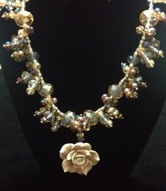 Earth tone rose necklace by azCreationsByAlyssa on Etsy