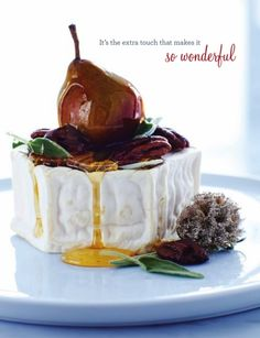 Brie with Pear. Hmmm looks very pretty but no recipe attached, glazed pear with honey? Fresh sage leaves and pecans...weird and nonsensical flavors but it sure looks pretty. Typical Pinterest.