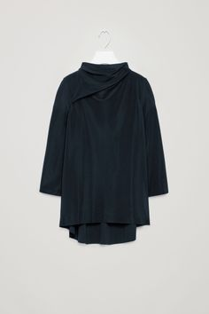 COS image 2 of A-line top with soft neck in Navy