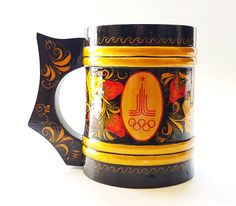 Vintage USSR Hand Painted Russian KHOKHLOMA Wooden Mug devoted Olympic Games Moscow 1980 by Olympiad80 on Etsy