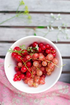 bowl of red & white currants...