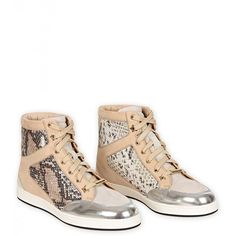 Jimmy Choo Natural Glitter Snake Print & Silver Patent High Top... ($610) ❤ liked on Polyvore featuring shoes, sneakers, grey sneakers, grey shoes, jimmy choo sneakers, hi tops and patent leather shoes