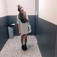 black and white stripe dress, stockings, and black wedge booties and an infinity scarf