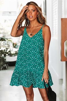New Fashion Women Summer Boho Floral Short Mini Dress Holiday Beach Bikini Cover Up Kaftan Swimwear Sundress, Green / XXL Types Of Dresses, Cute Dresses, Casual Dresses, Prom Dress Shopping, Online Dress Shopping, Summer Dresses For Women, Summer Outfits, Column Dress, Bikini Cover Up