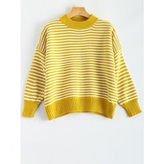 Batwing Sleeve Striped Pullover Sweater (318.025 IDR) ❤ liked on Polyvore featuring tops, sweaters, bat sleeve sweater, stripe sweater, striped top, yellow top and pullover sweaters