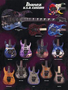 Ibanez Catalog - and guitars - I adore them Guitar Art, Cool Guitar, Acoustic Guitar, Ibanez Electric Guitar, Road Song, Heavy Metal Guitar, Steve Vai, Custom Guitars, Dark Horse