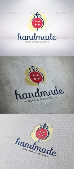 Handmade Clothing Logo Template  #GraphicRiver         - Three color version: color, greyscale and single color.   - The logo is 100% resizable.   - You can change text and colors very easy using the named and organized layers that includes the file.   - The typography used is sofia you can download here:  .fontsquirrel /fonts/sofia and confortaa you can download here:  .dafont /comfortaa.font                         Created: 5 December 13                    Graphics Files Included…