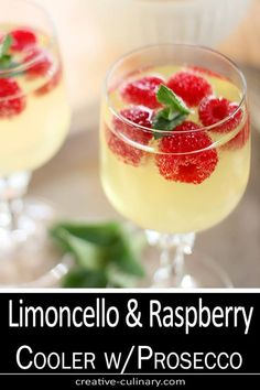 Limoncello and Prosecco Cooler is a simple and lovely cocktail featuring Limoncello, frozen raspberries, and Italian sparkling wine. Limoncello Cocktails, Italian Cocktails, Champagne Cocktail, Cocktail Drinks, Cocktail Recipes, Sparkling Wine, Raspberry Cocktail, Cocktails With Wine, Recipes