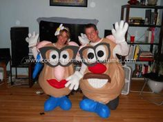 Coolest Mr. and Mrs. Potato Head Couple Homemade Costume: I made the felt bodies out of a bubble bee costume pattern I bought from Joann's Fabric. The pattern is made out of a panel system in order to get the