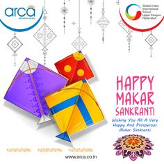 """Hope the rising sun on Makar Sankranti fills your life with abundant joy and prosperity. May The Sankranti Bring in New Hopes and Good Harvest For You!"""" — Wishing You and Your Family A Very Happy Makar Sankranti. Happy Makar Sankranti, International School, Rising Sun, Hyderabad, Schools, Harvest, Joy, Education, Life"""