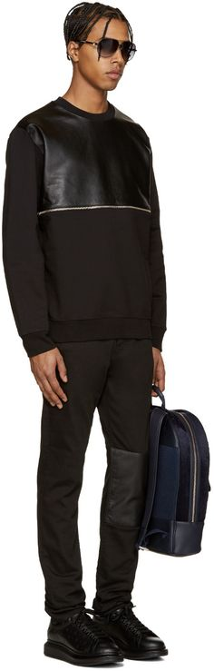 McQ Alexander Mcqueen - Black Leather Zip Pullover