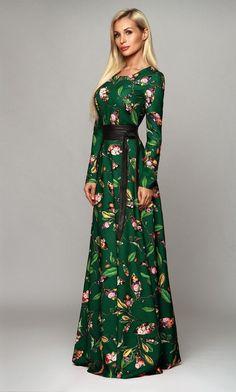Long dress,Floral dress Maxi, Green evening dress, dress with long sleeves Trendy Dresses, Elegant Dresses, Beautiful Dresses, Casual Dresses, Fashion Dresses, Green Floral Dress, Floral Maxi Dress, Green Evening Dress, Evening Dresses