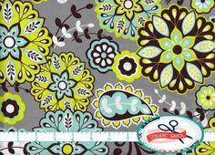 LIME AQUA & GRAY Paisley Fabric by the Yard, Fat Quarter Splendid Fabric 100% Cotton Fabric Quilting Fabric Apparel Fabric Yardage a1-19