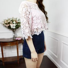 Cropped Floral Lace Top : The Art of Vintage-inspired & Cute Women's Clothing | Larmoni