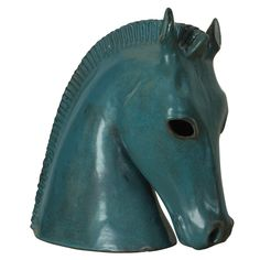 Stunning Italian Modernist Horse Head Italy Italian Modernist bust of a horse head all hand constructed out of clay and glazed in a stunning blue color. Pottery Sculpture, Ceramic Sculptures, Animal Sculptures, Horse Head, Horse Art, Horse Sculpture, Clay Animals, Clay Projects, Creative Ideas